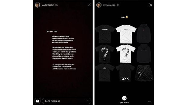 Pernak-pernik yang dijual untuk mengenang mendiang rapper XXXTENTACION.