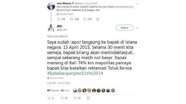 Balasan Jerinx ke Joko Widodo