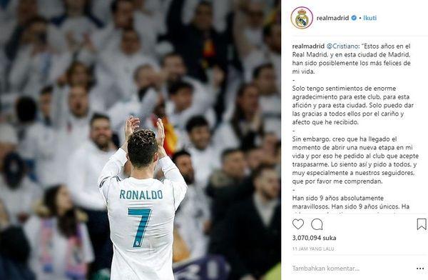 Akun Instagram resmi Real Madrid ucapkan salam perpisahan kepada Cristiano Ronaldo. Foto: Istimewa