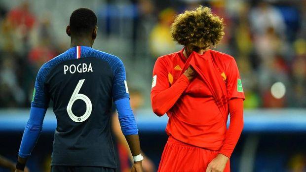 Marouane Fellaini gagal tampil maksimal saat tampil di sayap kiri melawan Prancis.