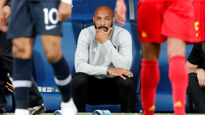 Soccer Football - World Cup - Semi Final - France v Belgium - Saint Petersburg Stadium, Saint Petersburg, Russia - July 10, 2018  Belgium assistant coach Thierry Henry and Yannick Carrasco after the match                   REUTERS/Dylan Martinez