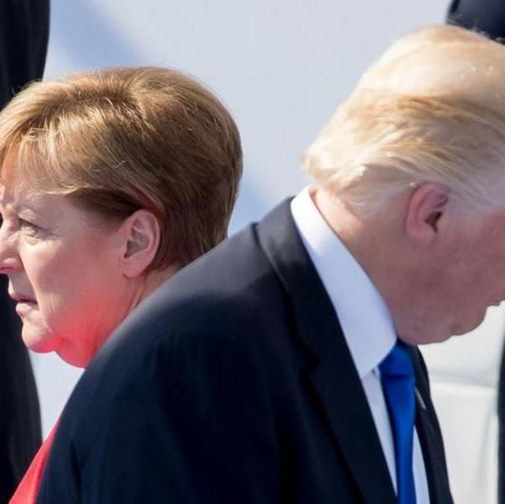 Trump Serang Merkel di Twitter, Tapi Manis Ketika Bersalaman
