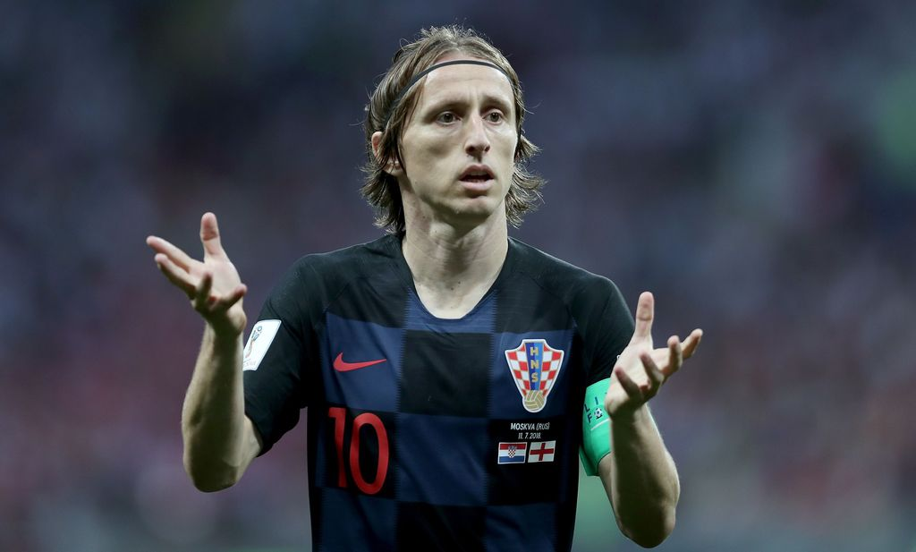 MOSCOW, RUSSIA - JULY 11:  Luka Modric of Croatia looks on during the 2018 FIFA World Cup Russia Semi Final match between England and Croatia at Luzhniki Stadium on July 11, 2018 in Moscow, Russia.  (Photo by Clive Rose/Getty Images)