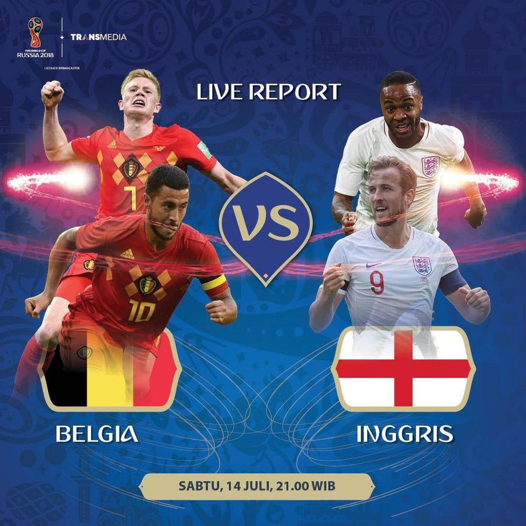 Live Report Piala Dunia 2018: Belgia vs Inggris