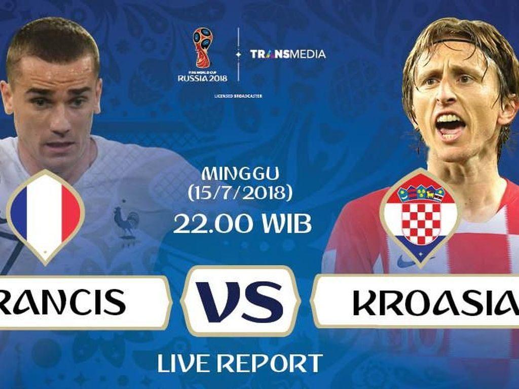 Live Report Piala Dunia 2018: Prancis Vs Kroasia