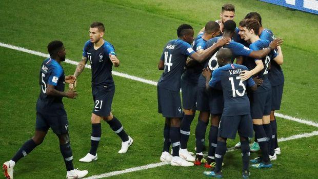Timnas Prancis ketika merayakan keberhasilan mereka di final Piala Dunia 2018.