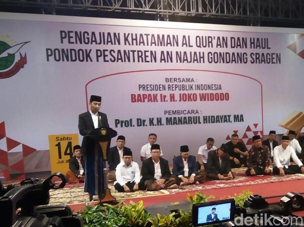 Di Ponpes Sragen, Jokowi Bicara Soal Burung di Dalam Sangkar