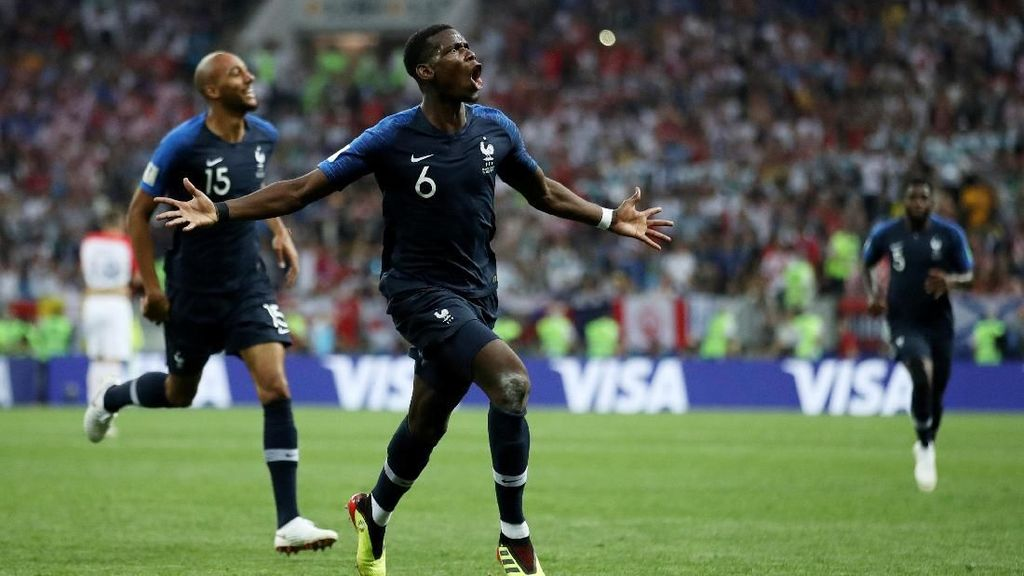 Gol Pogba-Mbappe Dibalas Mandzukic, Prancis 4 Kroasia 2