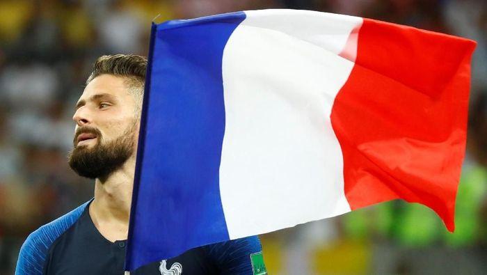 Olivier Giroud sama sekali tak punya shot on goal di sepanjang PIala Dunia 2018 ini (REUTERS/Kai Pfaffenbach)