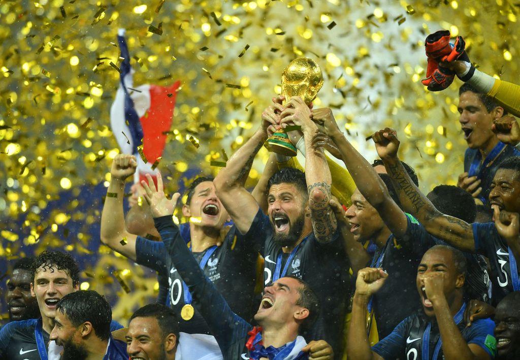 Prancis menjadi juara Piala Dunia 2018. Mereka langsung meluapkan kegembiraannya di Luzhniki.
