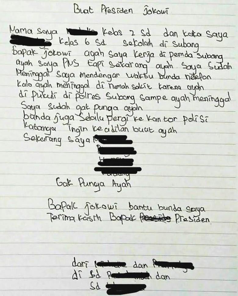 Bapak Tewas di Tahanan Polres Subang, Anak Kirim Surat ke Jokowi