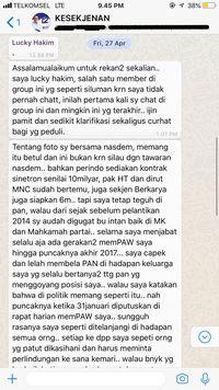 Bukti pengakuan Lucky Hakim ditransfer Rp 5 miliar ke NasDem.