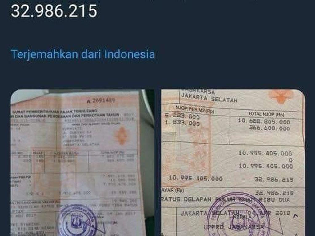Viral Bayar PBB Mahal di Jagakarsa, Karena Anies Naikkan NJOP DKI?