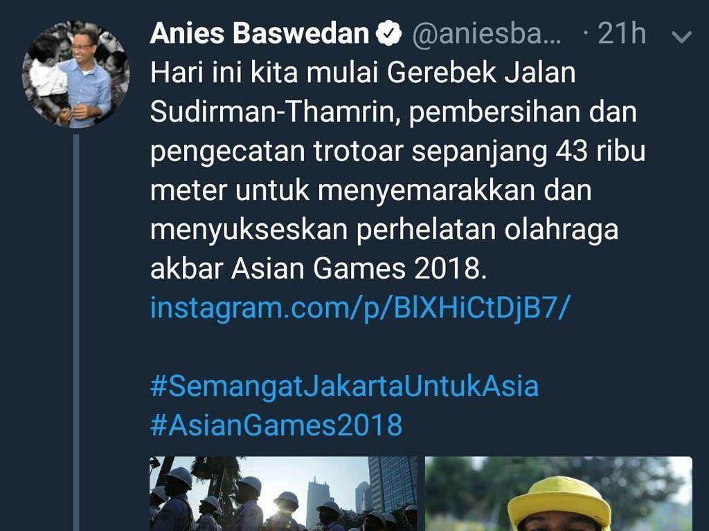 Ramai Dibahas, Tweet Anies Trotoar 43 Ribu Meter Dikoreksi