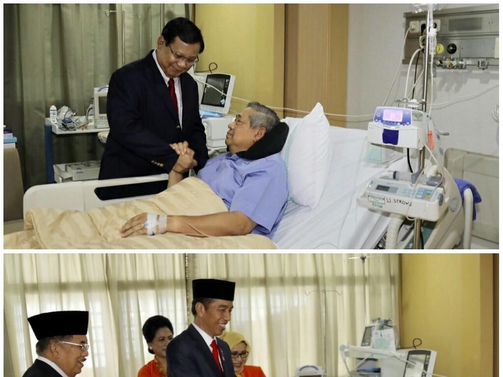 Beda Gaya Jokowi dan Prabowo Saat Bersalaman dengan SBY