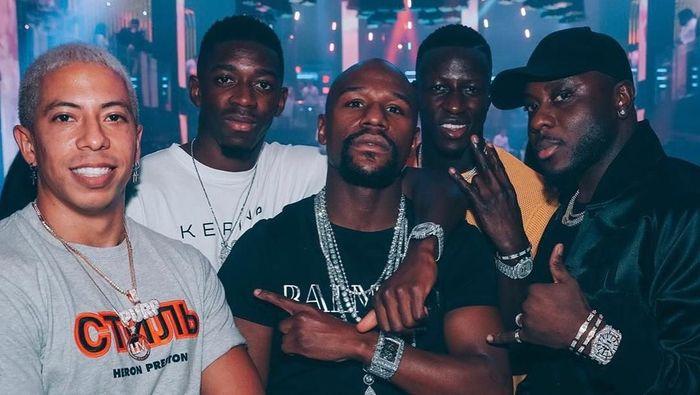 Benjamin Mendy, Ousmane Dembele, dan Floyd Mayweather (Foto: Instagram @benmendy23)