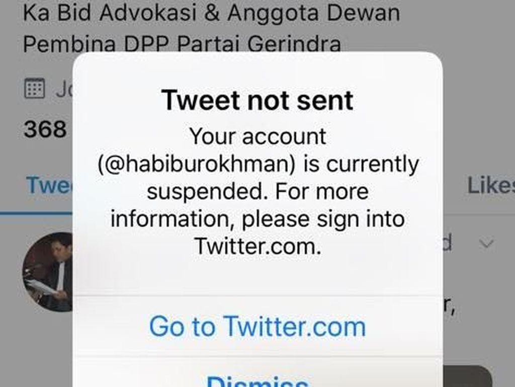 Habiburokhman: Sedih Sekali Akun Twitter Gua Kena Suspend