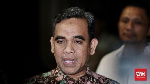 Sekjen Partai Gerindra Achmad Muzani, memberikan keterangan pers perihal hasil rapat internal dewan pimpinan Gerindra dengan Prabowo. Jakarta. Minggu 29 Juli 2018. CNN Indonesia/Andry Novelino