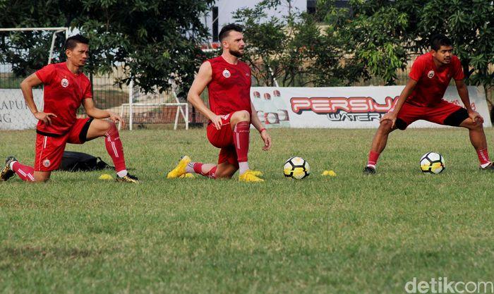 Persija jalani sesi latihan jelang lawan Arema dalam lanjutan Liga 1 2018.
