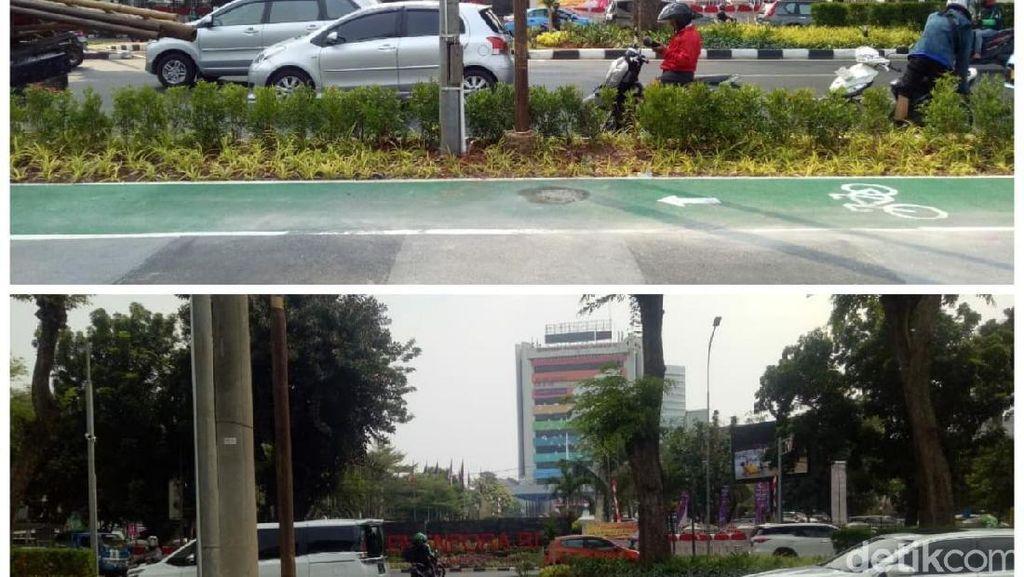 Before-After Tiang Halang Rintang di Jalur Sepeda GBK Dicabut