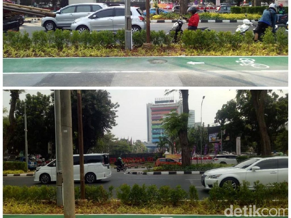 Before-After Tiang Halang Rintang di Jalur Sepeda GBK Dicabut