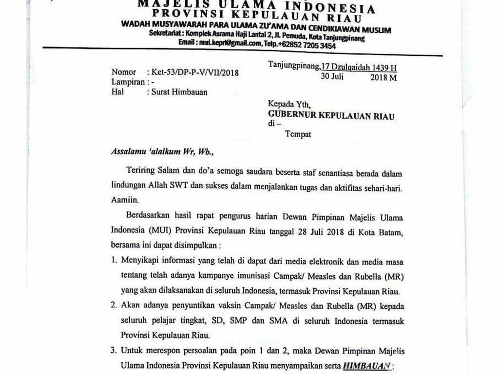 MUI Kepri Imbau Umat Muslim Tak Ikut Imunisasi Campak-Rubella
