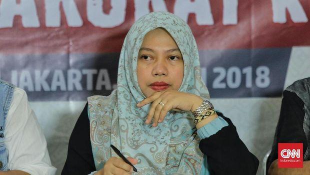 Direktur Eksekutif Perludem, Titi Anggraini saat menjadi narasumber dalam diskusi publik terkait presidential threshold di Aula Muhammadiyah. Jakarta, Selasa, 31 Juli 2018.