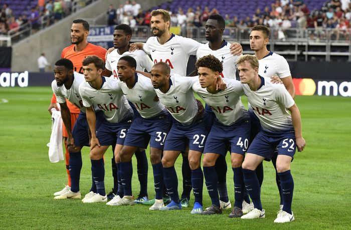 Tottenham Hotspur menurunkan pemain seperti Vorm, Walker-Peters, Eyoma, Sanchez, Georgiou, NKoudou, Skipp, Amos, Marsh, Llorente, dan Lucas Moura. Getty Images/Jules Ameel.
