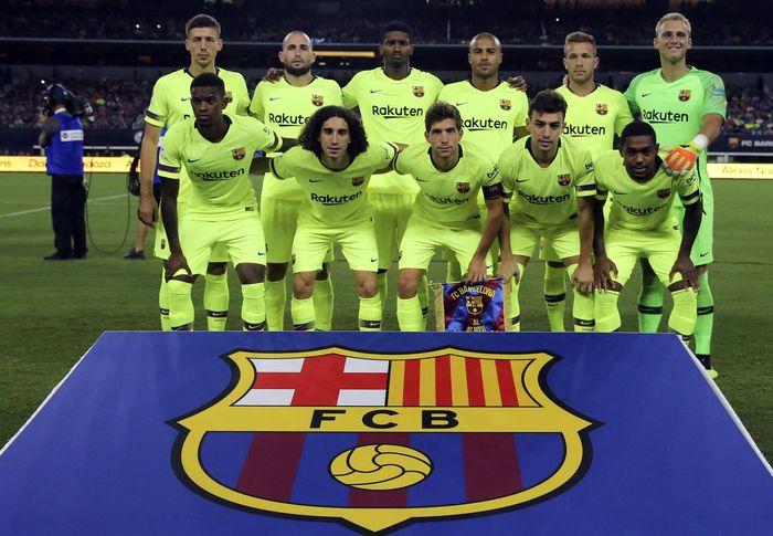 Barcelona menurunkan pemain seperti Jasper Cillessen, Nelson Semedo, Marlon, Clement Lenglet, Marc Cucurella, Arthur, Sergi Roberto, Rafinha, Aleix Vidal, Munir, dan Malcom. Kevin Jairaj-USA Today Sport/Reuters.