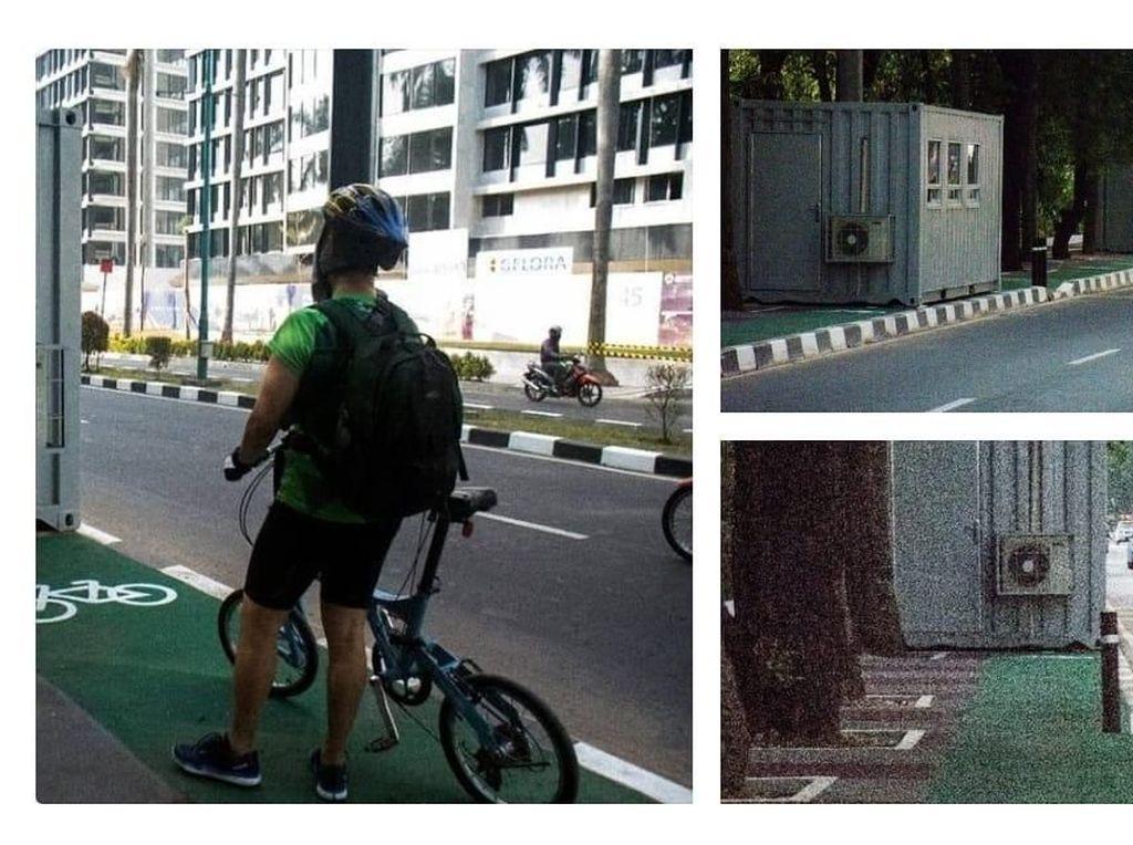 Viral Kontainer Tutup Jalur Sepeda, Inasgoc: Untuk Tiket Asian Games
