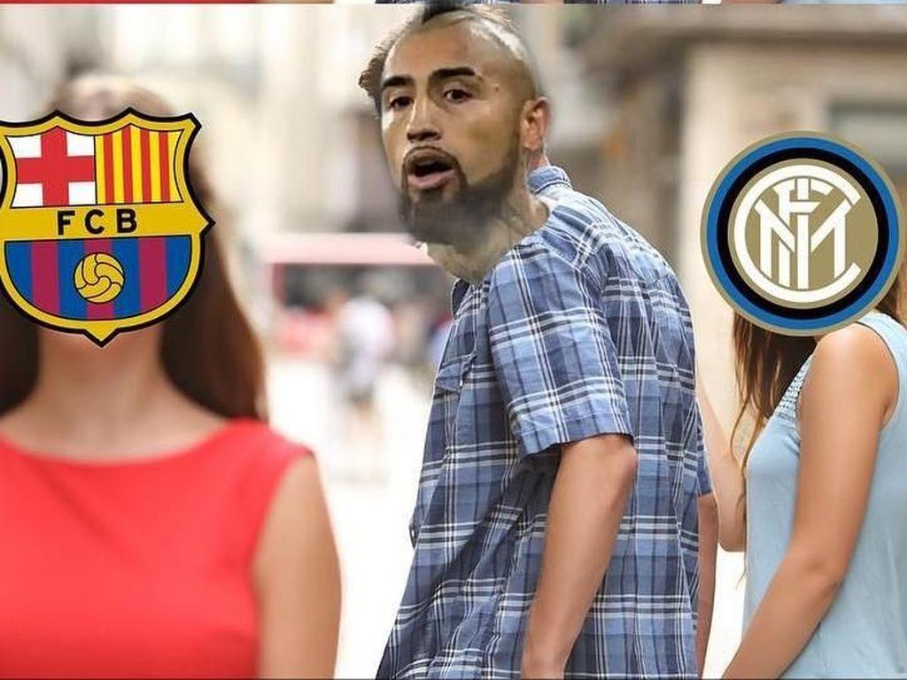 Meme-meme Barcelona Bajak Vidal dari Inter