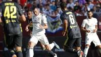 Madrid yang lebih mengontrol permainan baru bisa menyamakan di menit ke-39 lewat aksi Bale. Tembakan kerasnya tak mampu dijangkau kiper Juventus Wojciech Szczescny. (Foto: Geoff Burke-USA TODAY Sports/REUTERS)