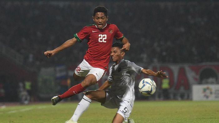 Timnas U-16 menghadapi Timor Leste di Stadion Gelora Delta, Sidoarjo, Sabtu (4/8/2018) pada laga keempat Grup A Piala AFF U-16 2018. (Foto: Zabur Karuru/ANTARA FOTO)