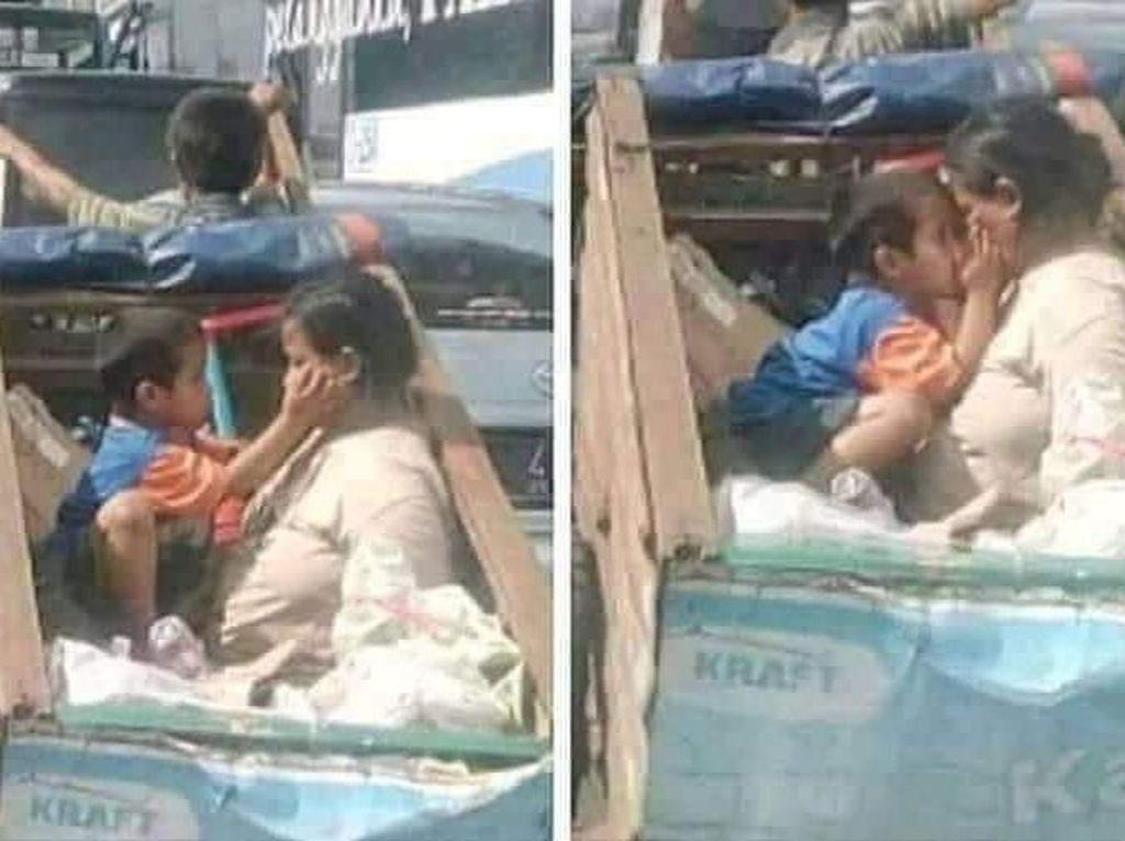 Foto Viral Anak Cium Ibu di Atas Gerobak Ini Bikin Netizen Nangis