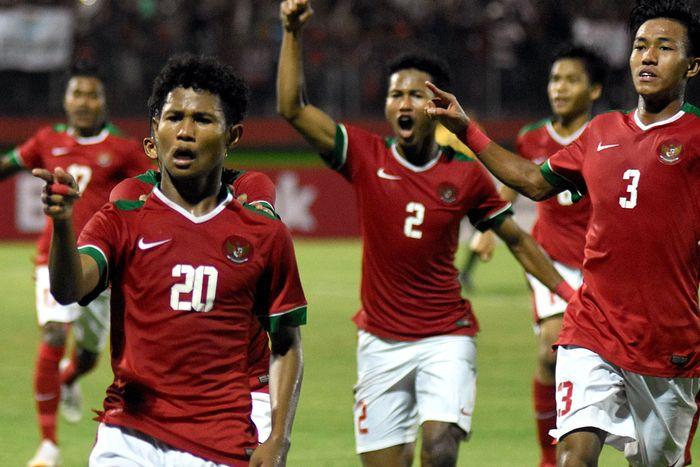 Timnas Indonesia berhasil melangkah ke final Piala AFF U-16 2018. Ini setelah Garuda Muda menang 1-0 atas Malaysia. ANTARA FOTO/M Risyal Hidayat.