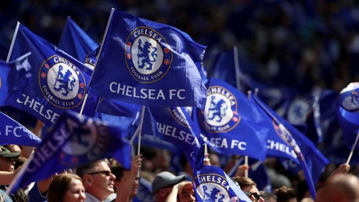 LONDON, ENGLAND - APRIL 22:  Chelsea fans wave flags during the The Emirates FA Cup Semi Final match between Chelsea and Southampton at Wembley Stadium on April 22, 2018 in London, England.  (Photo by Dan Istitene/Getty Images)