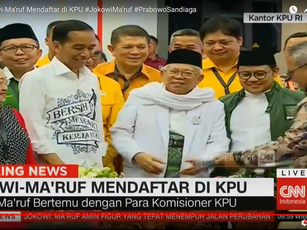 Jokowi-Maruf Amin Serahkan Dokumen Syarat Capres-Cawapres ke KPU