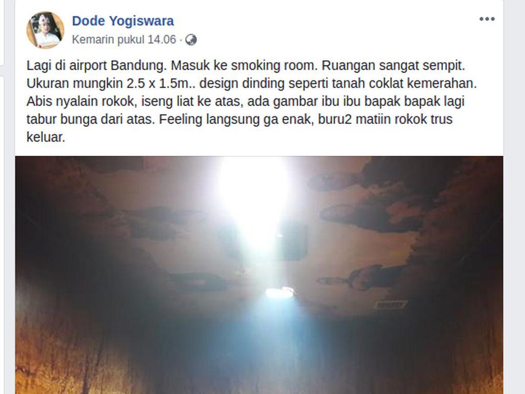 Viral Smoking Room Bertema Kuburan, Ini Kata Bandara Husein Sastranegara