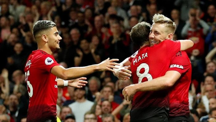 Manchester United di laga melawan Leicester City. (Foto: Action Images via Reuters/Andrew Boyers)