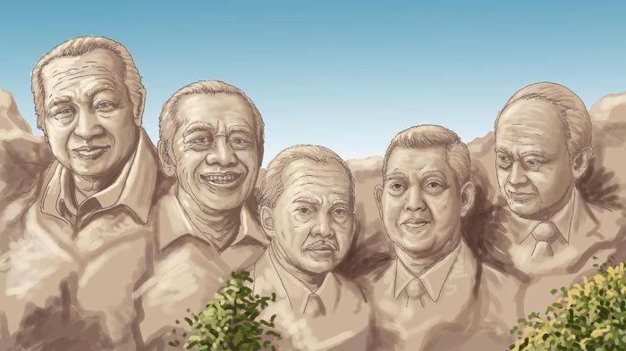 Soeharto dan para wapresnya. Foto: Ilustrasi: Edi Wahyono