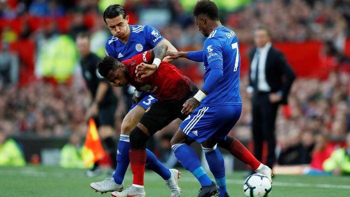 Manchester United berhadapan dengan Leicester City. (Foto: Andrew Boyers/Action Images via Reuters)