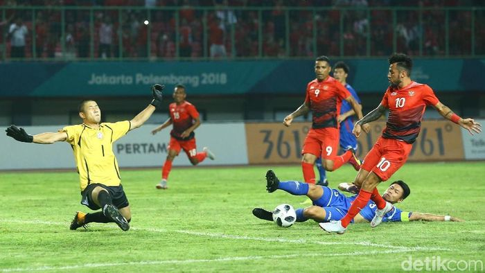 Timnas Indonesia U-23 menang 4-0 atas Taiwan di cabang sepakbola Asian Games 2018 Grup A, Minggu (12/8/2018). (Foto: Grandyos Zafna/detikSport)