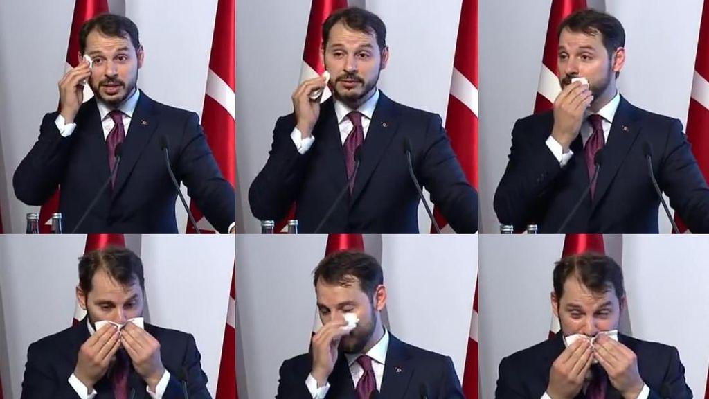 Saat Menantu Erdogan Berkeringat Pidato Soal Ekonomi