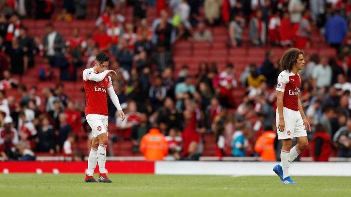 Kekecewaan pemain-pemain Arsenal setelah kalah dari Manchester City (Foto: John Sibley/Action Images via Reuters)