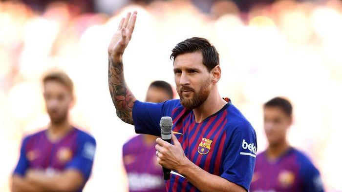 Pidato Lionel Messi dalam debutnya di Camp Nou sebagai kapten utama Barcelona (Foto: David Ramos/Getty Images)