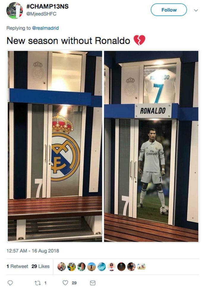 Setelah periode sarat gelar dan prestasi bersama Real Madrid, 2009–2018, Ronaldo kini pindah ke Juventus. Jelang musim baru, Madrid masih mencari sosok yang bisa menggantikannya. (Foto: Twitter)