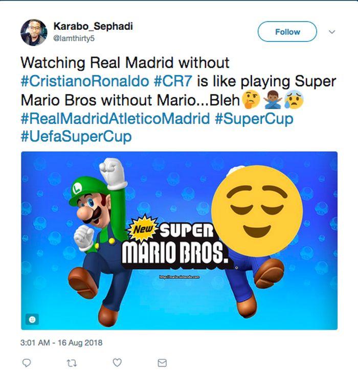 Setelah periode panjang kebersamaan Ronaldo dengan Real Madrid, fans El Real boleh jadi merasa janggal menyaksikan tim kesayangannya main tanpa si pemain Portugal. Apalagi Ronaldo sudah sangat identik dengan Madrid. Seperti game Mario Bros tanpa sosok Mario? (Foto: Twitter)
