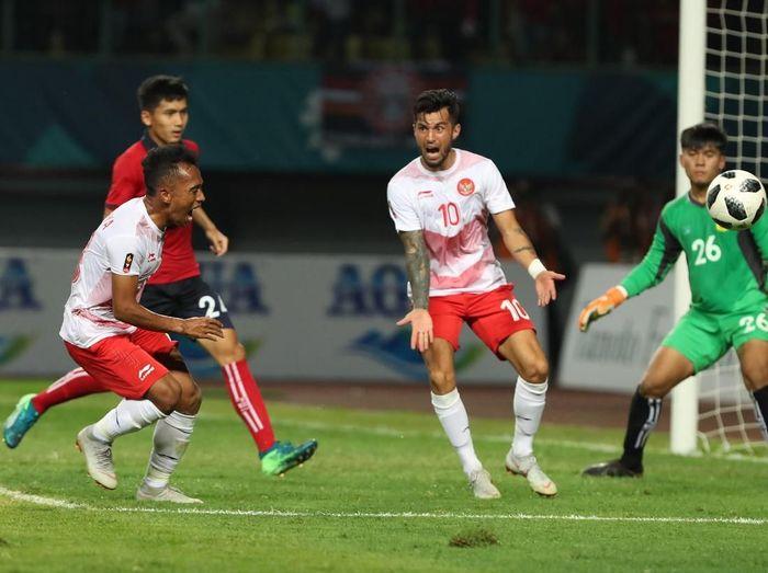 Timnas Indonesia saat mengalahkan Laos di Asian Games 2018. (Foto: Carlie/INASGOC)