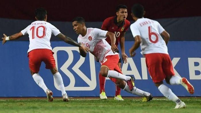 Beto kemudian mencetak dua gol langsung dalam kemenangan 3-0 atas Laos di partai ketiga Indonesia dalam Asian Games 2018. Gol-golnya dicetak di menit ke-14 dan ke-47. (Foto: Arief Bagus/AFP)