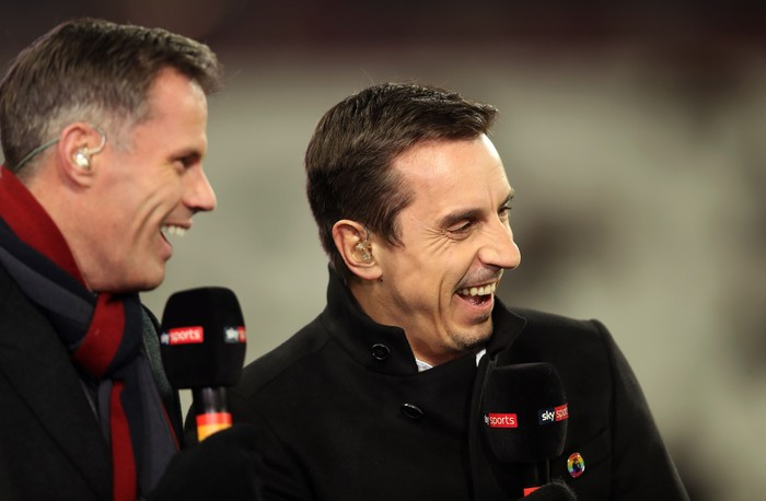 LONDON, ENGLAND - NOVEMBER 24:  Pundits Jamie Carragher (L) and Gary Neville laugh prior to the Premier League match between West Ham United and Leicester City at London Stadium on November 24, 2017 in London, England.  (Photo by Julian Finney/Getty Images)
